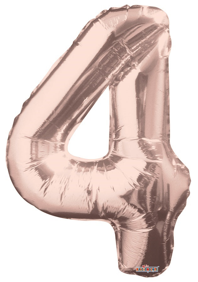 Rose Gold Jumbo Balloon Number 4  Includes Helium and Weight