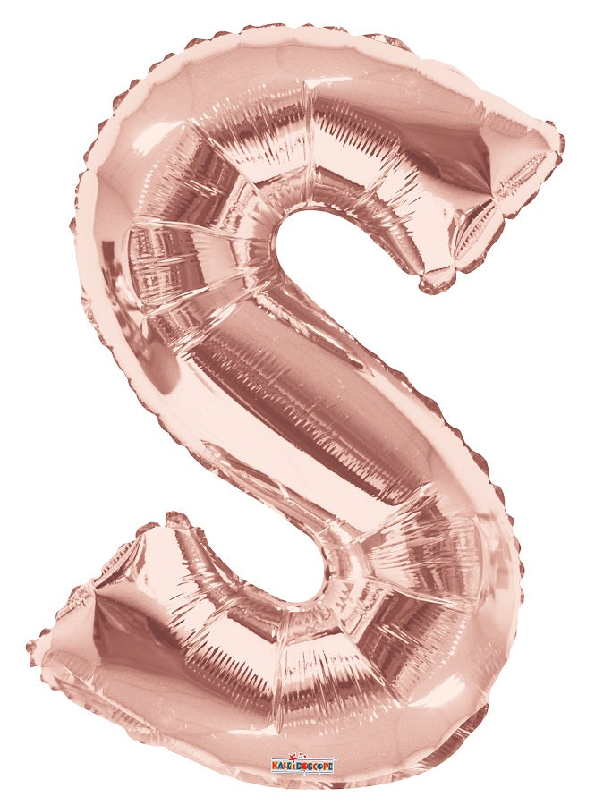 Rose Gold Jumbo Balloon Letter S (Includes Helium and Weight)