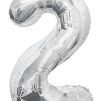 Silver Jumbo Balloon Number 2 (Includes Helium and Weight)