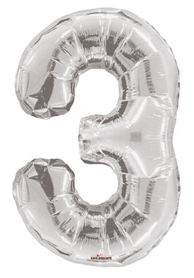 Silver Jumbo Balloon Number 3 (Includes Helium and Weight)