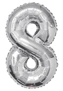 Silver Jumbo Balloon Number 8 (Includes Helium and Weight)