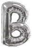 Silver Jumbo Balloon Letter B (Includes Helium and Weights)
