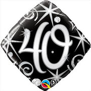 40th Birthday Elegant Black Diamond Age Milestone 18 inch Foil Balloon