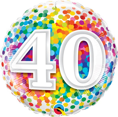 40th Birthday Rainbow Polka Dots 18 inch Foil Balloon