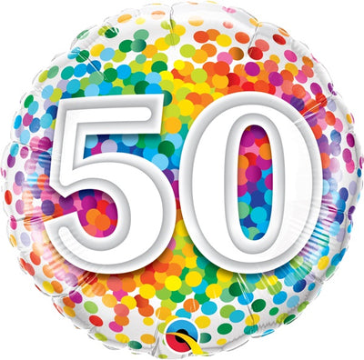50th Birthday Rainbow Polka Dots 18 inch Foil Balloon