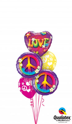 60s Love Peace Balloon Bouquet