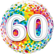 60th Birthday Rainbow Polka Dots 18 inch Foil Balloon
