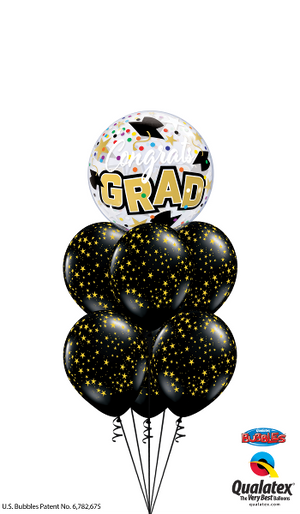 Graduation Grad Gold Stars Bubbles Balloon Bouquet