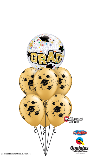 Graduation Grad MotarBoards Bubbles Balloon Bouquet