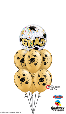 Graduation Grad Mortarboard Bubble Balloon Bouquet