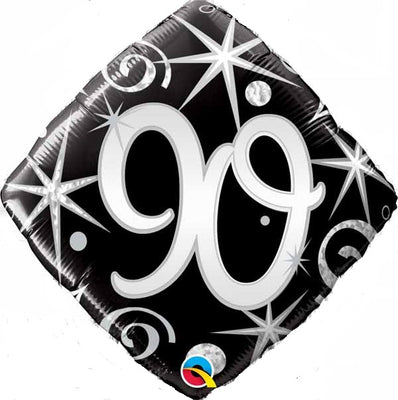 90th Birthday Elegant Black Diamond Age Milestone 18 inch Foil Balloon