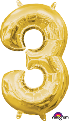 16 inch Gold Number 3 Balloon