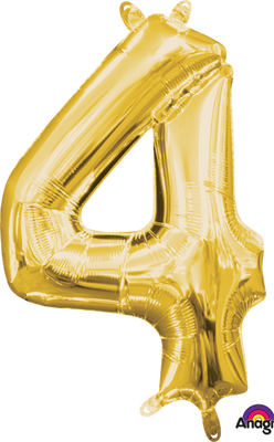 16 inch Gold Number 4 Balloon