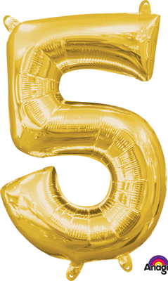 16 inch Gold Number 5 Balloon