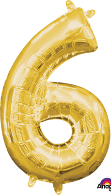 16 inch Gold Number 6 Balloon