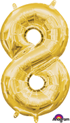 16 inch Gold Number 8 Balloon