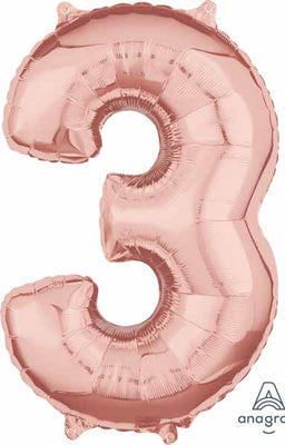 16 inch Rose Gold Number 3 Balloon
