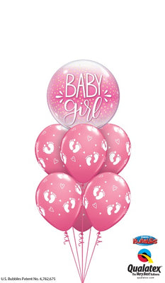 Baby Girl Little Footprints Balloon Bouquet
