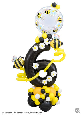 Bee Pick An Age Black Number Balloon Stand Up