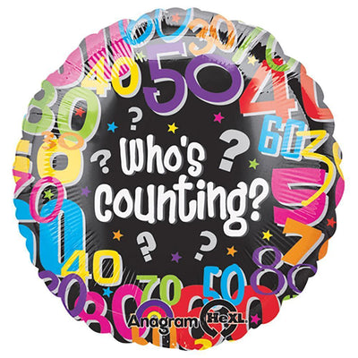 Birthday Numbers Who's Counting 18 inch Mylar Foil Balloon with Helium