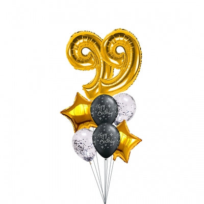 Pick An Age Gold Number Birthday Balloon Bouquet