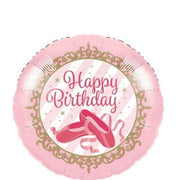 Birthday Ballerina Slippers 18 inch Foil  Mylar Balloon with Helium