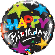 Birthday Brilliant Stars 18 inch Mylar Foil Balloon with Helium