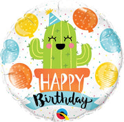Birthday Cactus 18 inch Mylar Foil Balloon with Helium