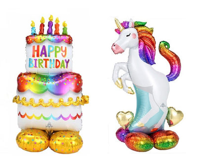 Birthday Cake 53 and Unicorn 52 inch Airloonz Balloons
