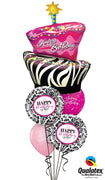 Birthday Cake Funky Zebra Damask Balloon Bouquet