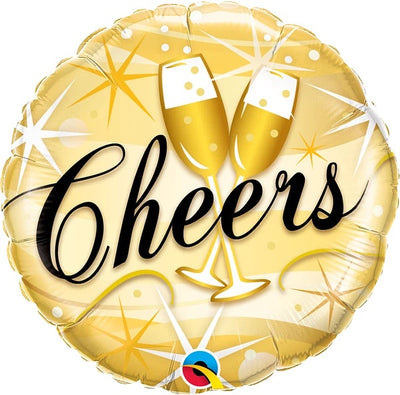 Birthday Cheers Champagne 18 inch Mylar Foil Balloon