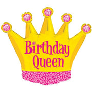 Birthday Queen Crown 36 inch Foil Balloon with Helium