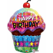 Birthday Dazzling Cupcake Holographic 35 inch Foil Balloon with Helium