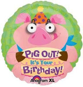 Birthday Funny Pig Eye Poppers 18 inch Foil Balloon