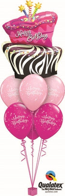 Birthday Funky Zebra Cake Balloon Bouquet