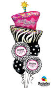 Birthday Funky Zebra Cake Damask Dots Balloon Bouquet