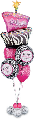 Birthday Funky Zebra Cake Fun Balloon Bouquet Stand Up