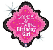 Birthday Girl Dance and Swirl 18 inch Mylar Foil Balloon with Helium