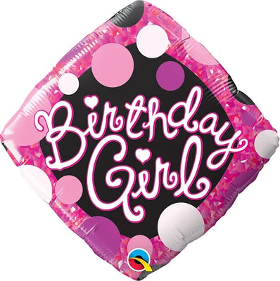 Birthday Girl Diamond 18 inch Mylar Foil Balloon with Helium