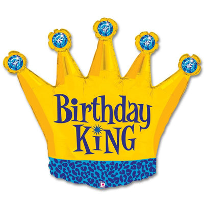Birthday King Crown 36 inch Foil Balloon with Helium