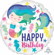 Birthday Mermaid Narwhal 18 inch Mylar Foil Balloon with Helium