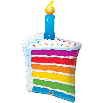 Birthday Cake Rainbow 41 inch Foil Balloon with Helium