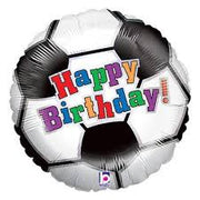 Birthday Soccer Ball 18 inch Mylar Foil Balloon with Helium