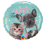 Birthday Party Time Studio Pets Puppy Kitten 18 inch Mylar Foil Balloon with Helium