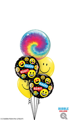 Birthday Tie Dyed Smiley Balloons Bouquet