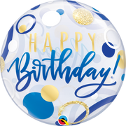 Happy Birthday Blue Gold Dots Bubbles Balloon