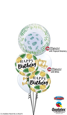 Pineapple Bubbles Birthday Balloon Bouquet