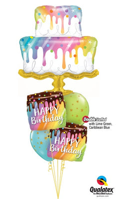 Birthday Cake Rainbow Drip Balloon Bouquet