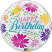 Happy Birthday Filigree Flowers Bubbles Balloon