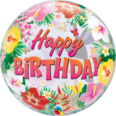 Happy Birthday Tropical Flowers Birds Bubbles Balloon